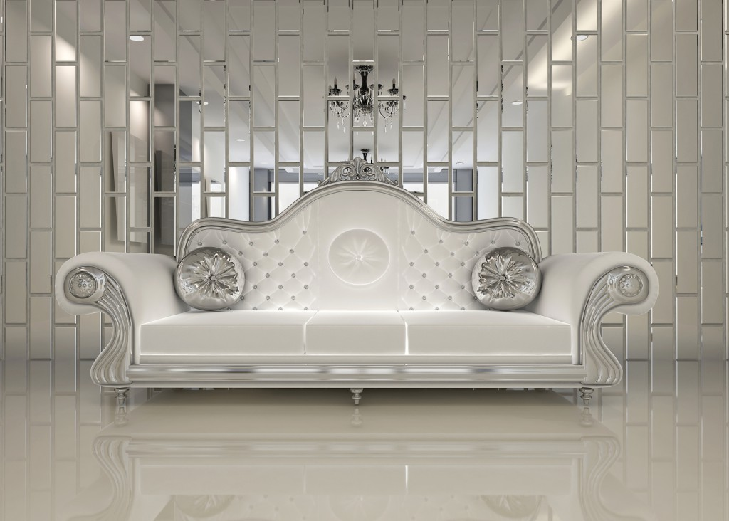 Modern white sofa in royal interior apartment space